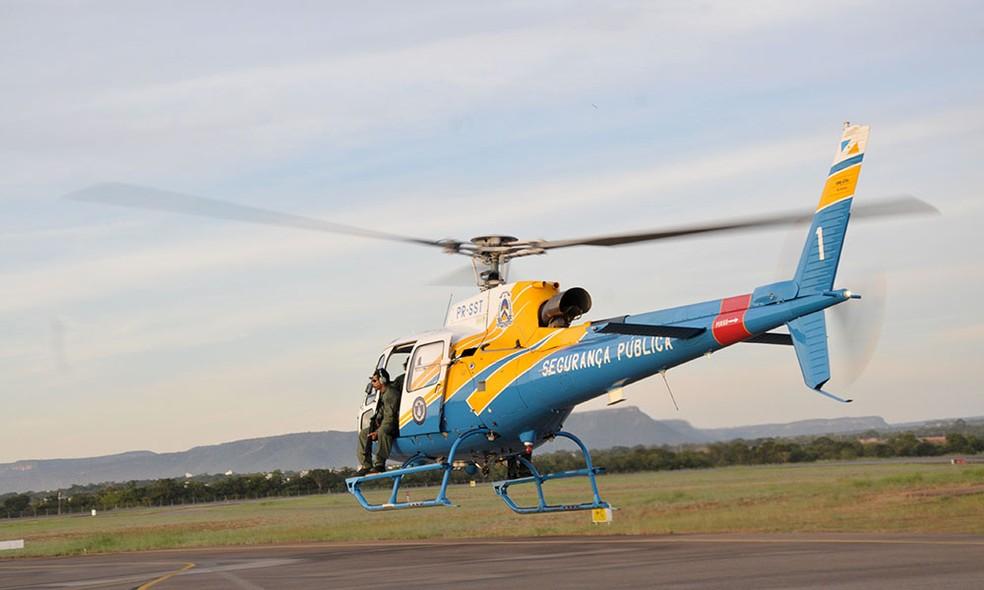 Helicóptero será usado na fiscalização de rodovias — Foto: Washington Luiz/Secom