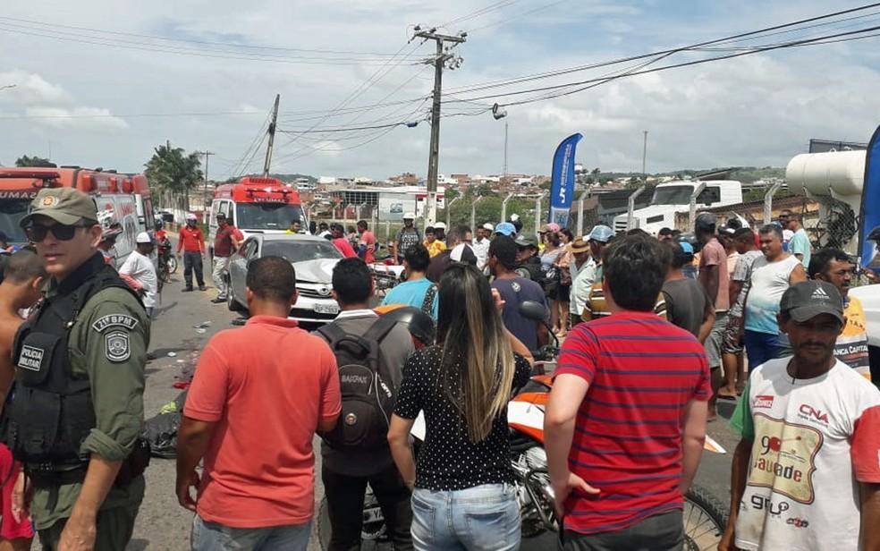 Menina morreu após ser atropelada em Vitória de Santo Antão, na Zona da Mata de Pernambuco — Foto: Reprodução/WhatsApp