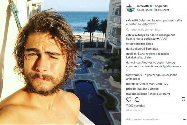 Tatá Werneck comenta selfie de  Rafael Vitti (Foto: Reprodução/Instagram)