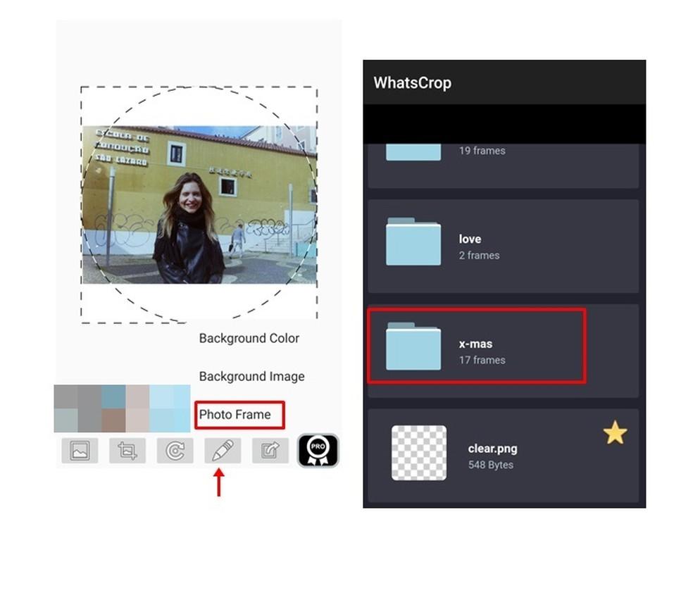 Caso queira, é possível inserir também uma moldura à sua imagem de perfil do WhatsApp (Foto: Reprodução/ Taysa Coelho)