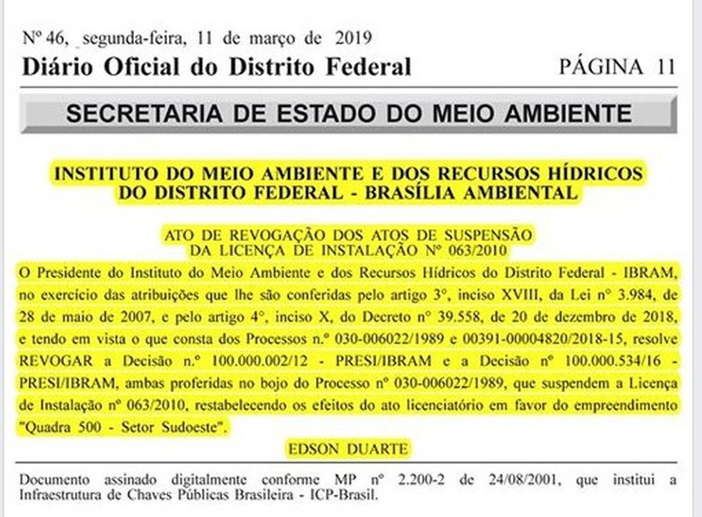 Autorização do Ibram que permite construção da quadra 500 — Foto: Reprodução/TV Globo