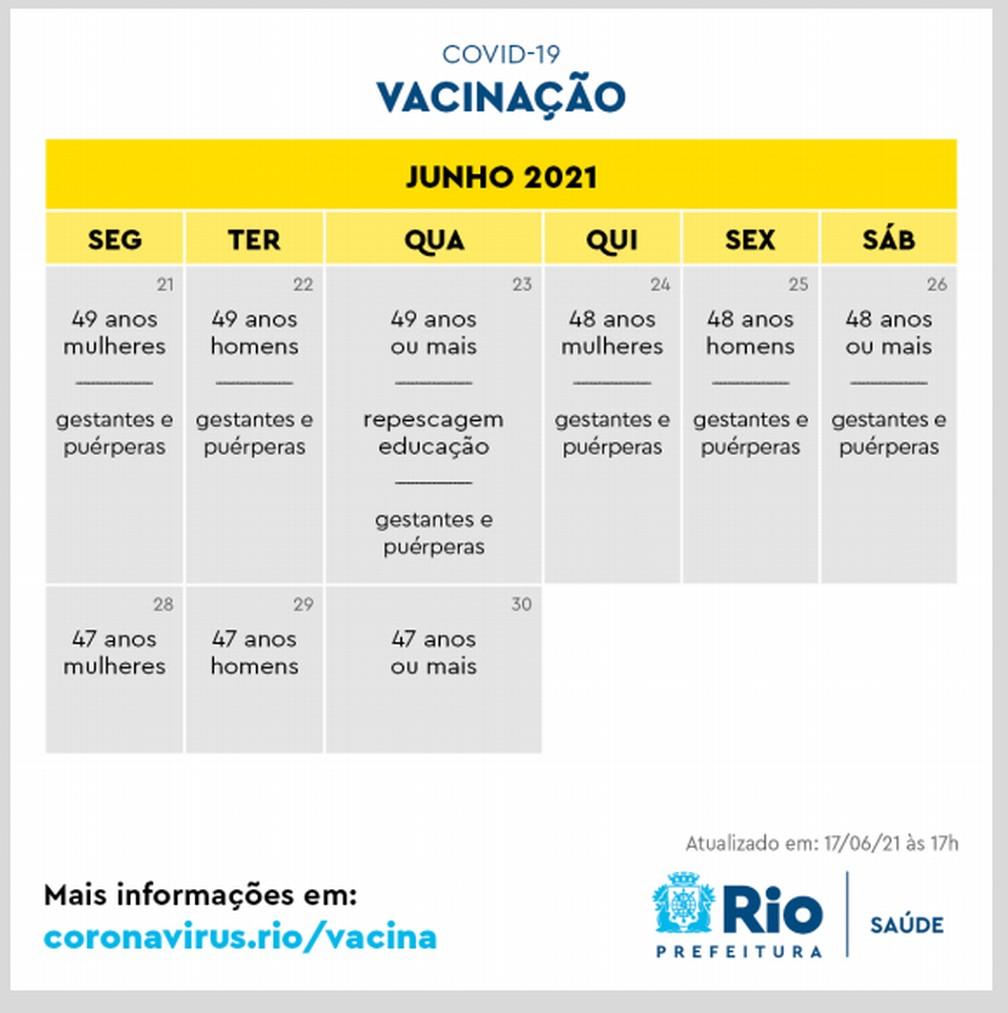 Novo calendário da vacinação no Rio para junho — Foto: Reprodução