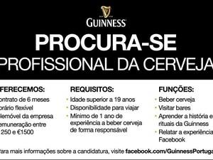 Anúncio da vaga da Guiness no Facebook (Foto: Divulgação/Guiness)