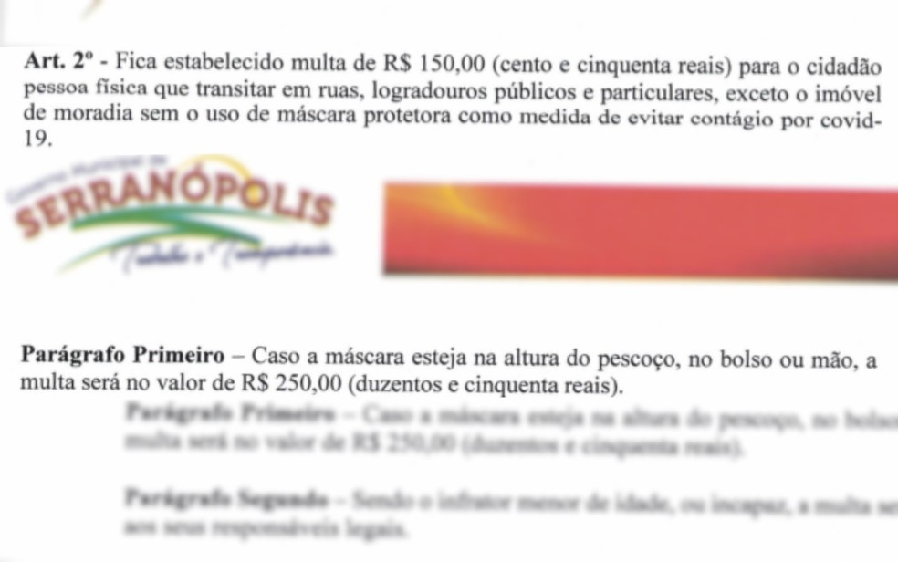 Decreto exige o uso de máscara facial em Serranópolis, Goiás — Foto: Reprodução/Prefeitura de Serranópolis
