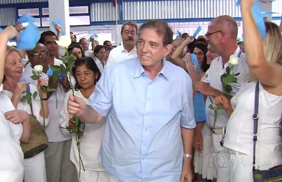 João de Deus na Casa Dom Inácio, em Abadiânia, Goiás, em foto de 2015 — Foto: Reprodução/ TV Anhanguera