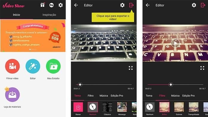Aplicativo VideoShow permite aplicar filtros nas edições de vídeos (Foto: Reprodução/Barbara Mannara)