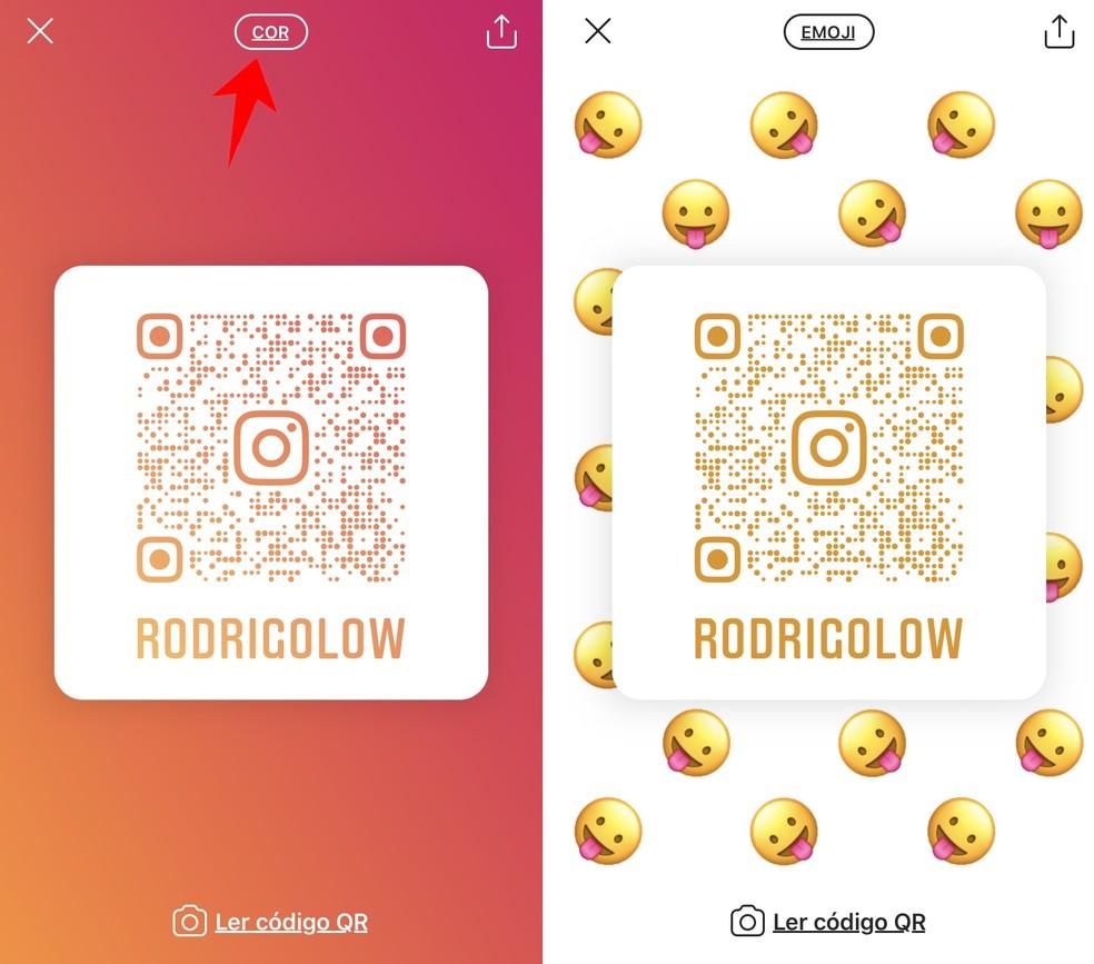 Instagram permite colocar emojis no plano de fundo dos QR Codes — Foto: Reprodução/Rodrigo Fernandes