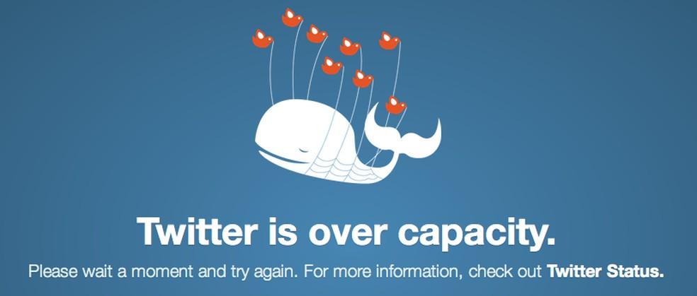 Baleia carregada por passarinhos aparecia quando Twitter estava sobrecarregado — Foto: Reprodução/Twitter