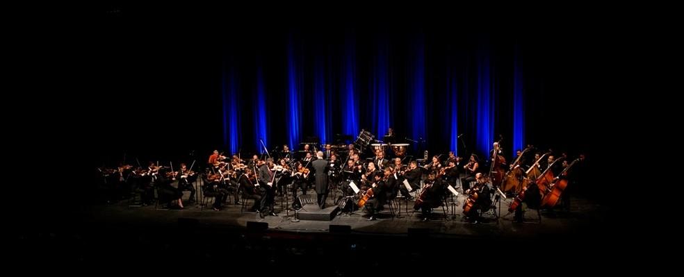 Orquestra Sinfônica do Rio Grande do Norte é atração na reabertura do teatro — Foto: Paulo Fuga