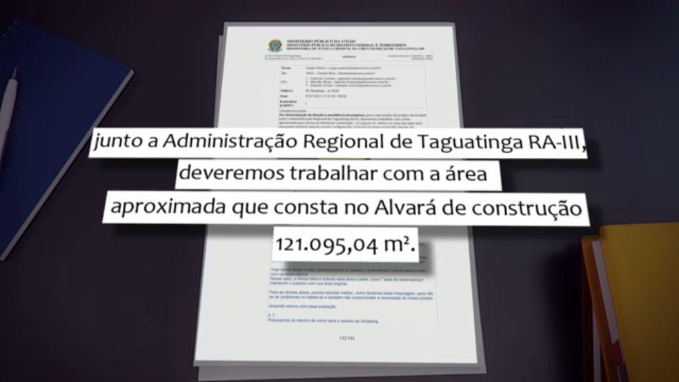 Email enviado por membro de Grupo Paulo Octávio anexado à denúncia do Ministério Público (Foto: Reprodução/TV Globo)