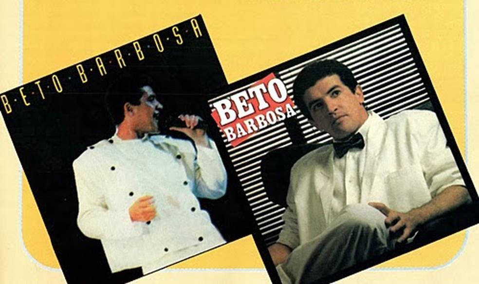 Capas de dois álbuns mais bem-sucedidos da carreira de Beto Barbosa — Foto: Reprodução parcial da capa do CD 'Dose dupla'