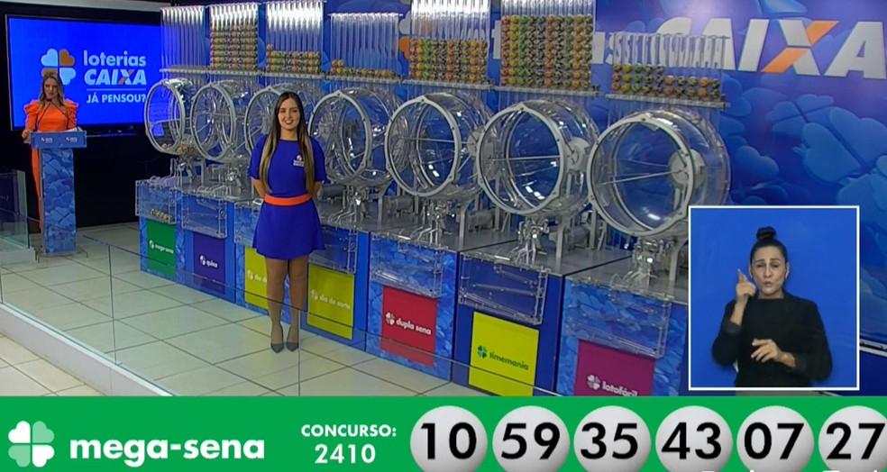Números sorteados no concurso 2410 da Mega Sena, em 18 de setembro — Foto: Reprodução/Facebook/CEF