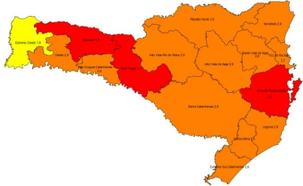 Mapa de risco da Covid-19 SC: atualização de 11 de novembro — Foto: Reprodução/Governo de Santa Catarina