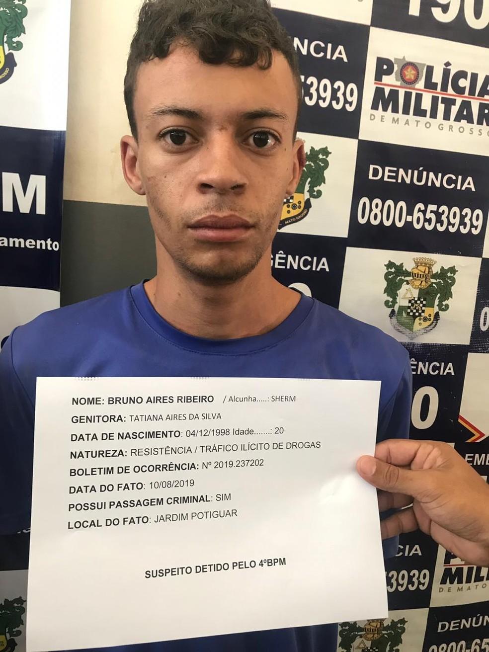 Bruno Áires Ribeiro, de 20 anos, foi preso pela PM. — Foto: PM-MT