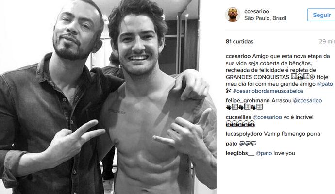 Cabeleireiro de Pato desejou felicidade ao jogador após o acerto (Foto: Reprodução de Instagram)