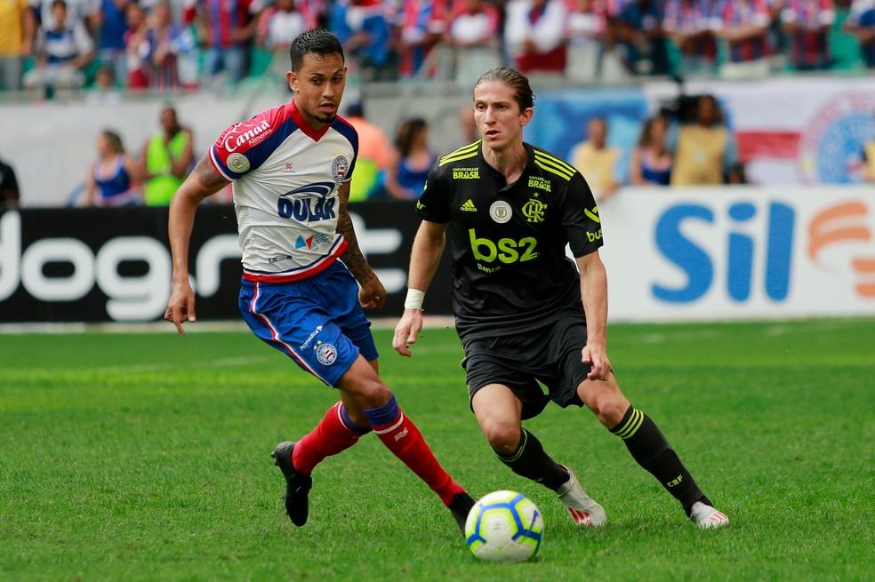 Filipe Luís sofreu com o ataque do Bahia em sua estreia — Foto: MARCELO MALAQUIAS/FRAMEPHOTO/ESTADÃO CONTEÚDO