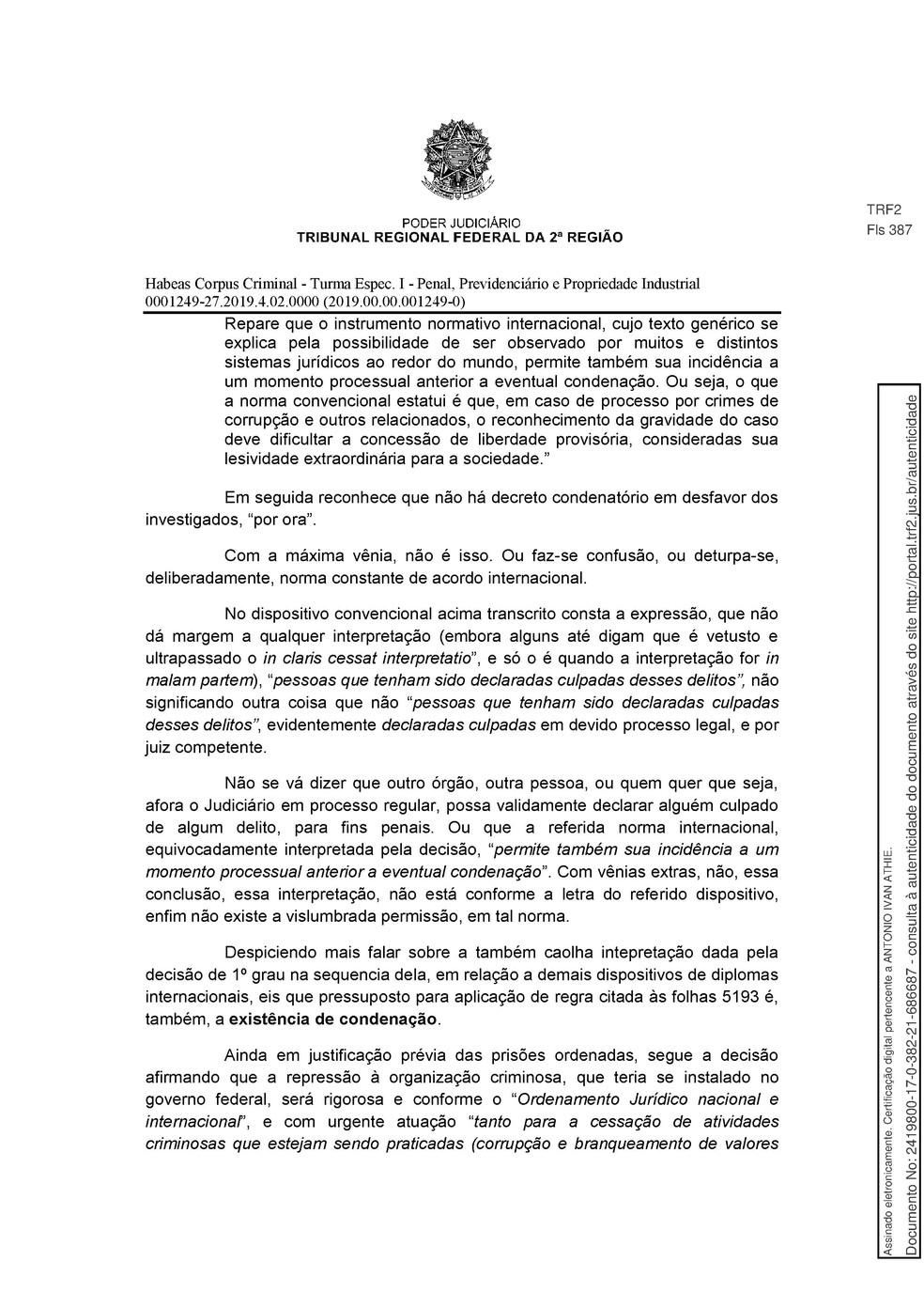 Decisão TRF 2 - pg 6 — Foto: Reprodução