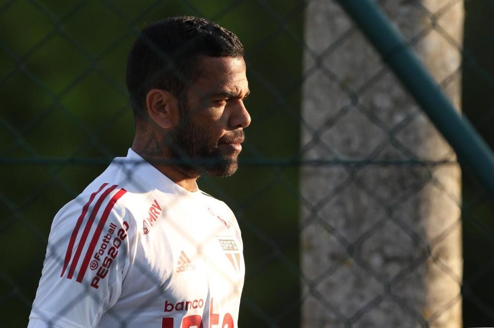Daniel Alves em treino do São Paulo — Foto: Divulgação/São Paulo
