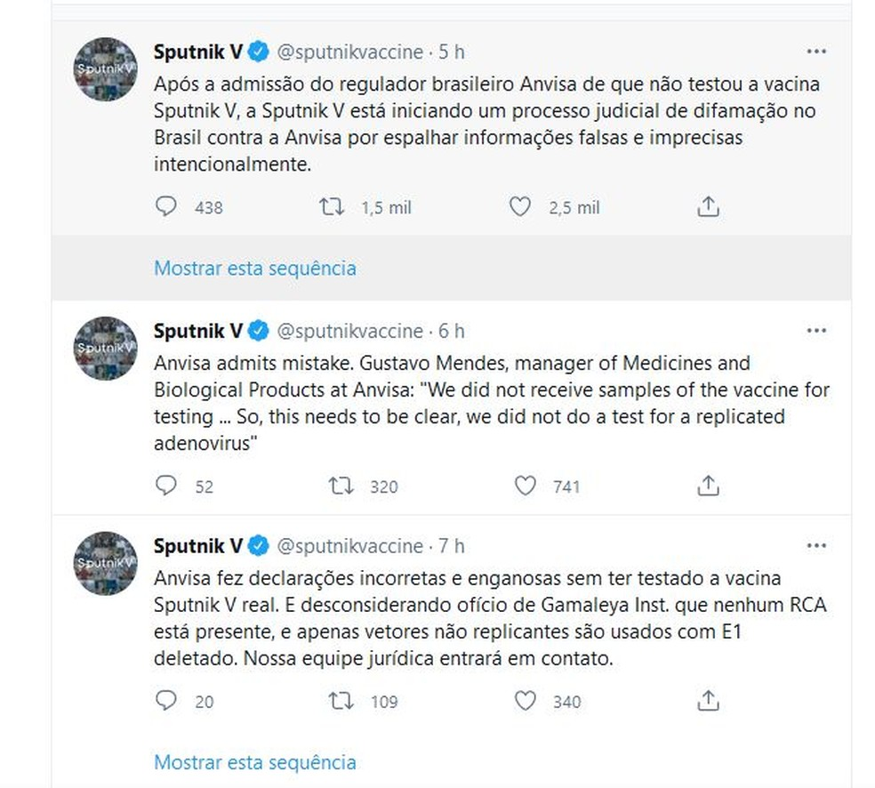 Sputnik V diz que vai processar a Anvisa — Foto: Reprodução/Twitter