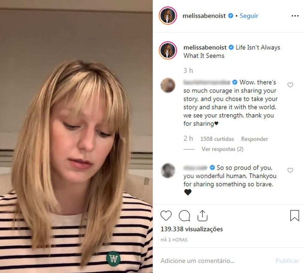 Melissa Benoist fala em vídeo sobre ser sobrevivente de violência doméstica — Foto: Reprodução/Instagram/melissabenoist