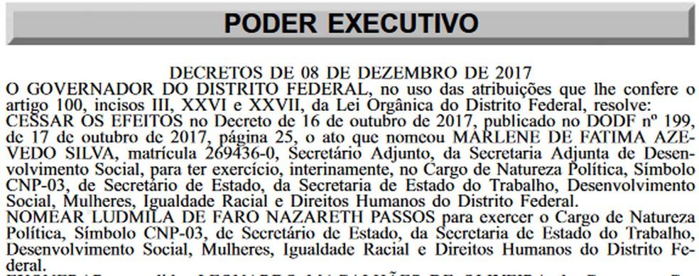 Trecho do Diário Oficial do Distrito Federal com nomeação da psicólogca Ludmila de Faro Nazareth Passos para a Secretaria do Trabalho (Foto: Reprodução)
