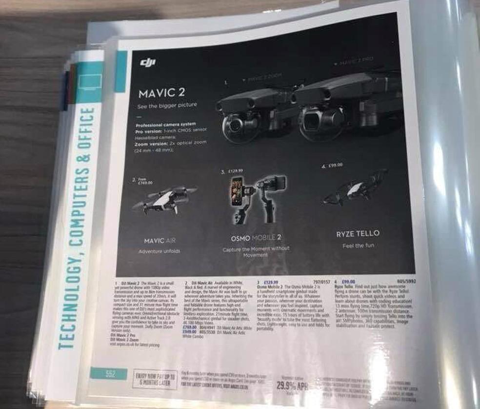 Catálogo antecipa uma série de recursos e especificações do que podem ser os novos Mavic 2 e Mavic 2 Zoom (Foto: Reprodução/DroneDJ)