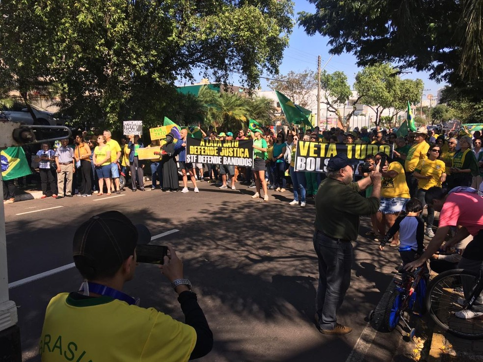 Manifestantes protestam vestidos de verde e amarelo — Foto: Michele Bacelar/TV TEM