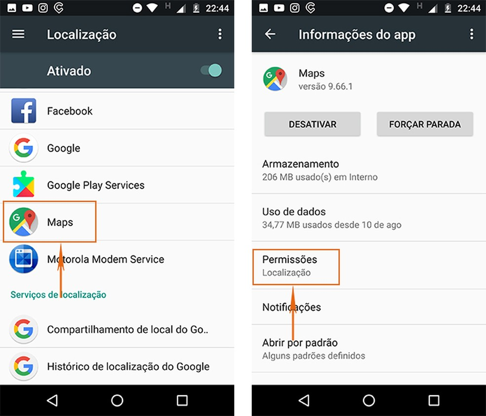 Selecione as permissões do Maps no Android (Foto: Reprodução/Barbara Mannara)