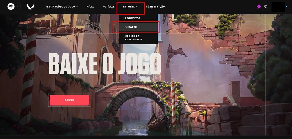 Acesse a página do suporte do jogo — Foto: Reprodução/Marcelo Villela