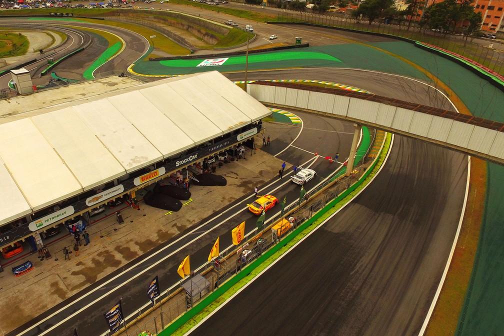 Vista aérea do autódromo de Interlagos, na Zona Sul de SP, onde é realizado o GP Brasil de Fórmula 1 — Foto: Luis Moura/Estadão Conteúdo