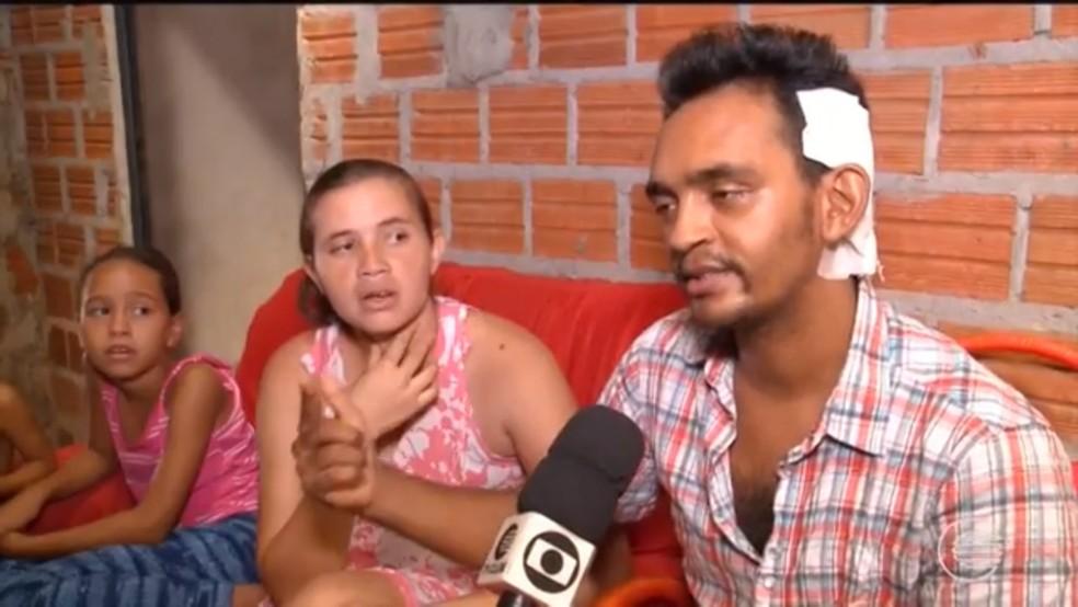 Pai da menina Emilly Caetano perdeu 100% da audição do ouvido esquerdo. (Foto: Piauí TV 1º Edição)