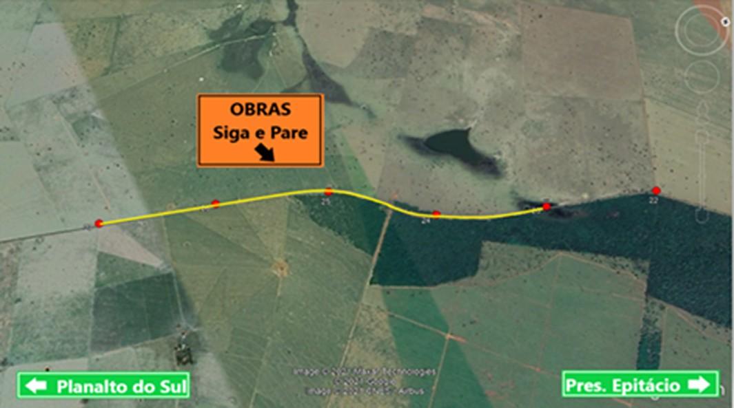 Rodovia vicinal em Presidente Epitácio tem operação pare e siga nesta sexta-feira e sábado