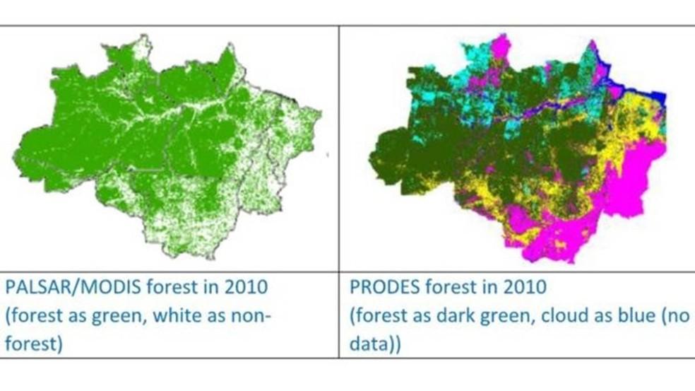 Método PALSAR/MODIS identificou 3,75 milhões de km² de floresta em 2010, 15% a mais do que o PRODES no mesmo ano — Foto: Divulgação/Universidade de Oklahoma