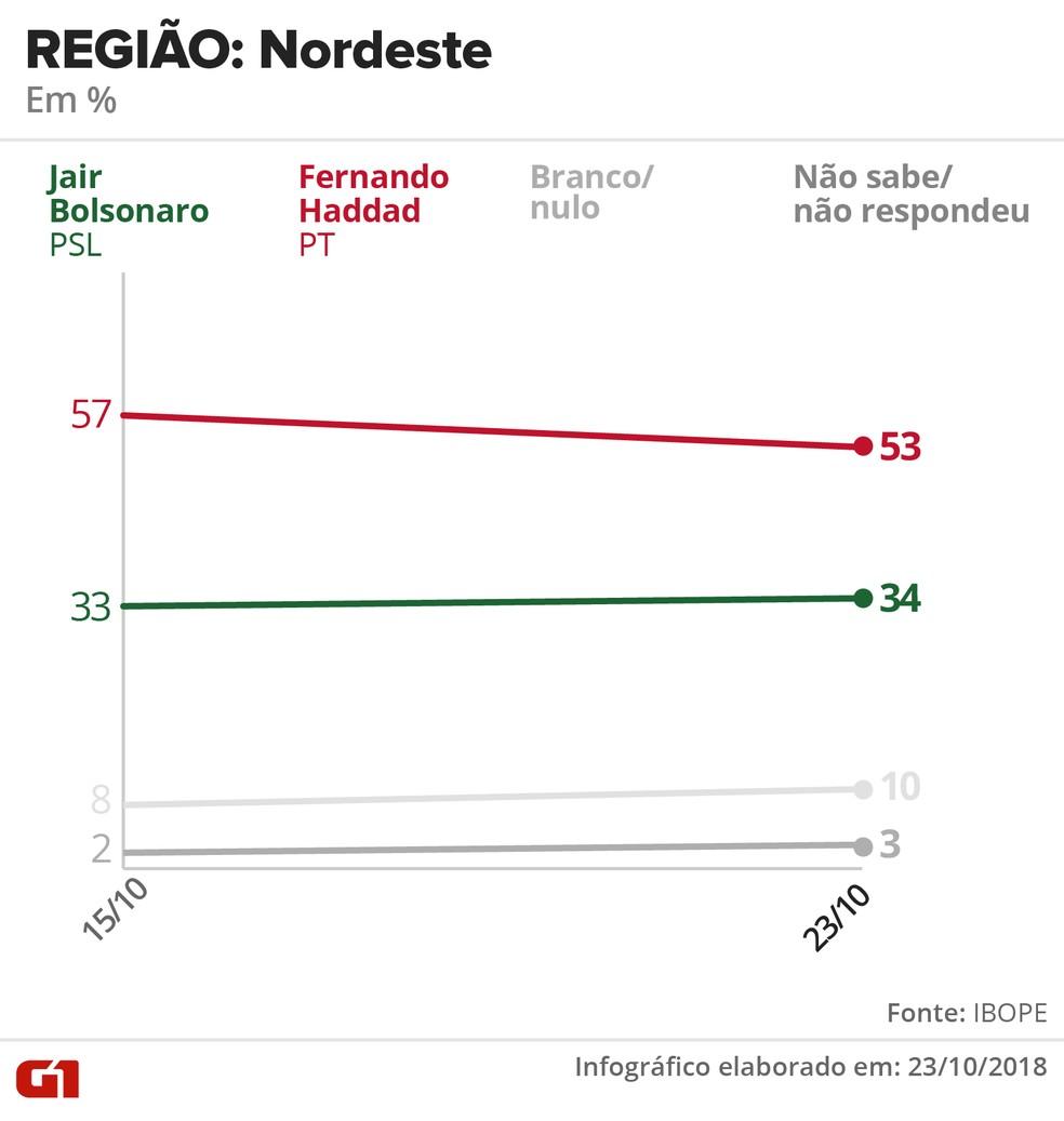 Pesquisa Ibope - 23 de outubro - intenção de voto por segmentos - região: Nordeste — Foto: Arte/G1