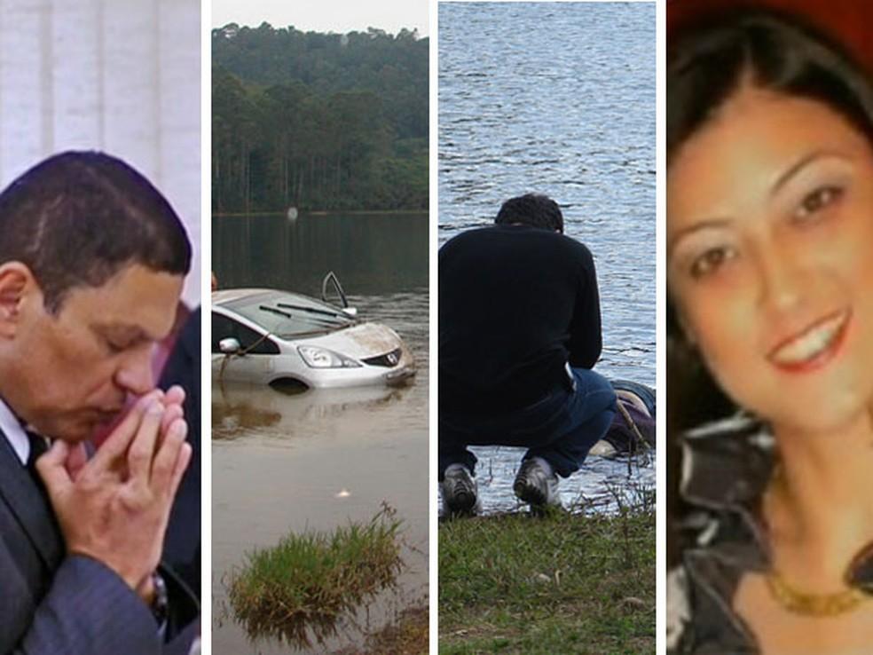 Da esquerda para a direita: Mizael Souza, carro de Mércia Nakashima, corpo da advogada sendo observado por um parente e foto da vítima — Foto: Fotomontagem/Reprodução/Arquivo/TV Globo/Paulo Toledo Piza/G1
