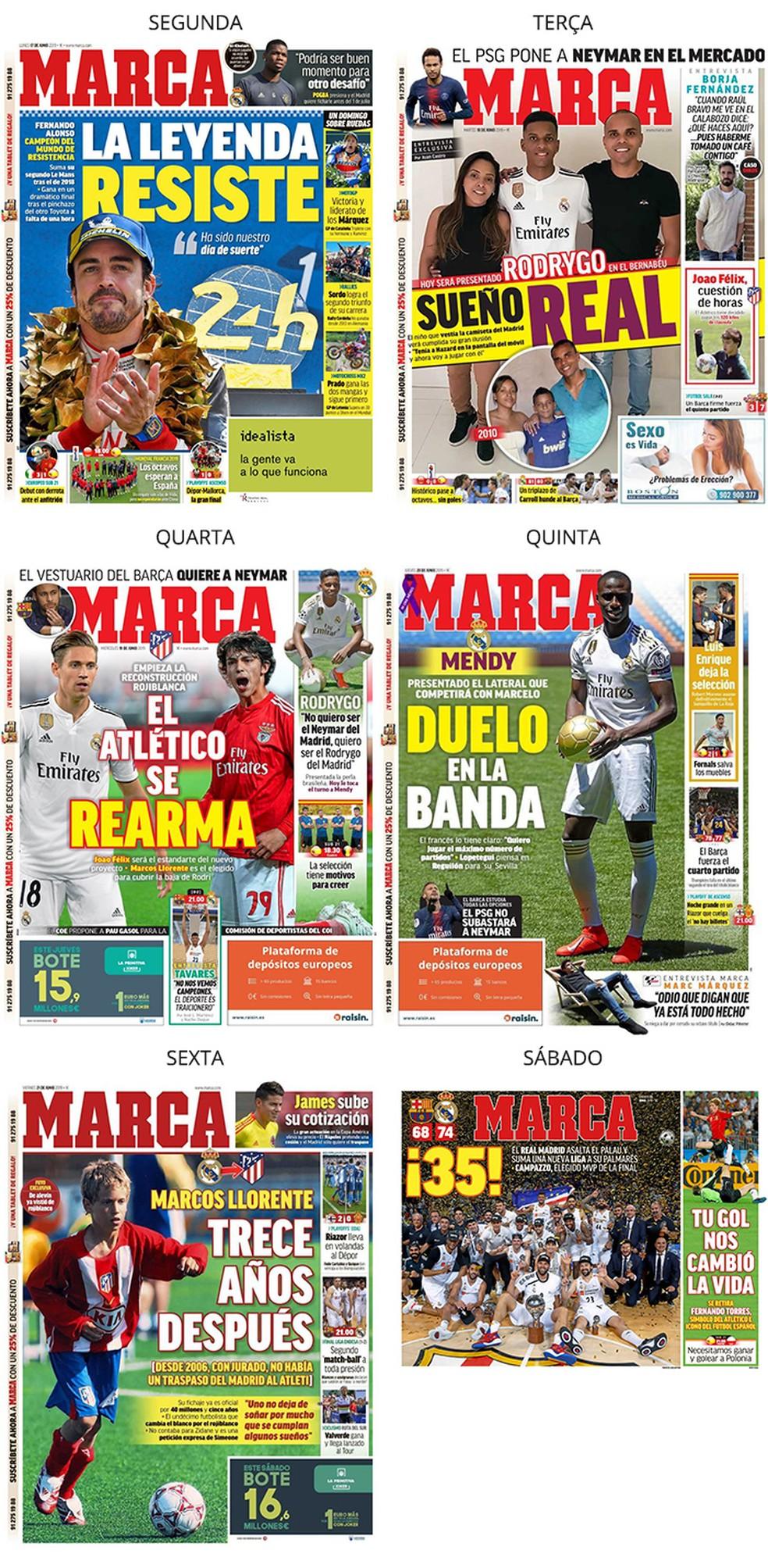"""Já o jornal Marca """"ignora"""" o brasileiro — Foto: Reprodução / Marca"""