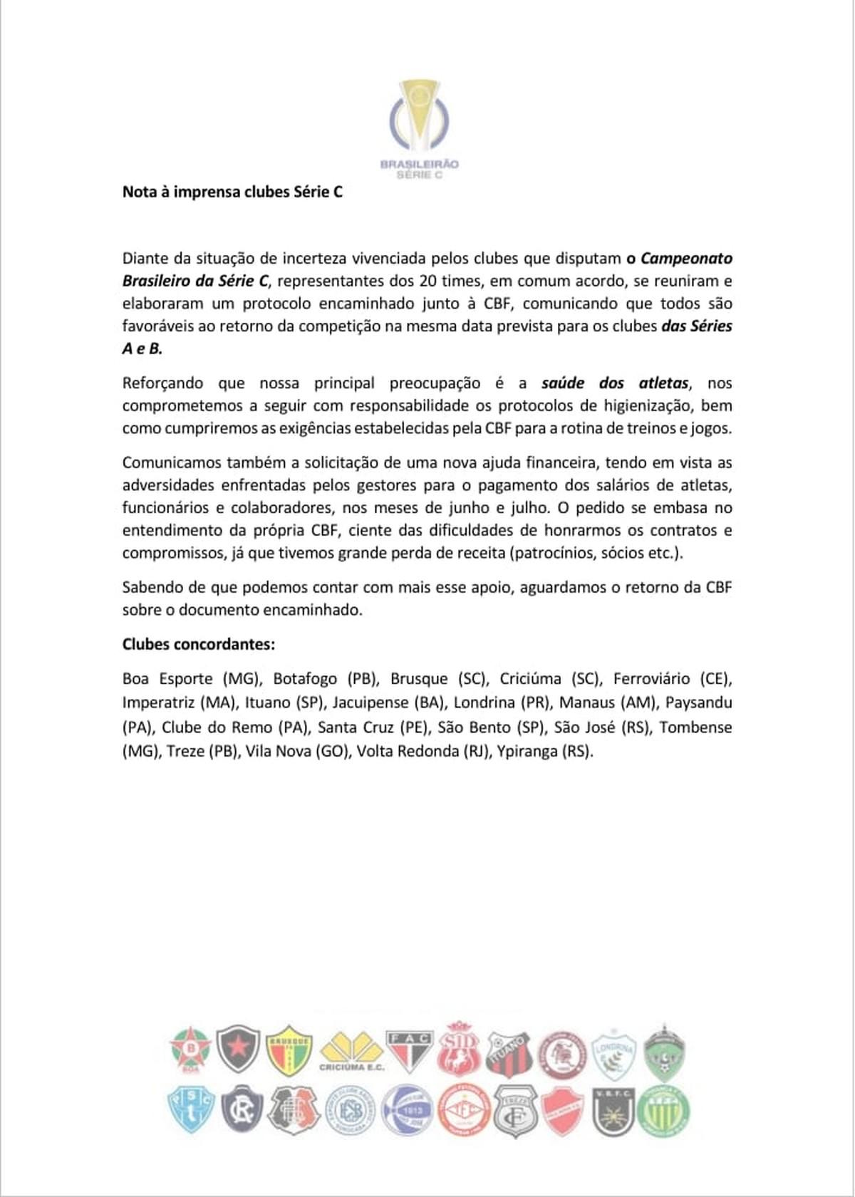 Clubes da Série C publicam nota pedindo início da competição nas mesmas datas das séries A e B – globoesporte.com