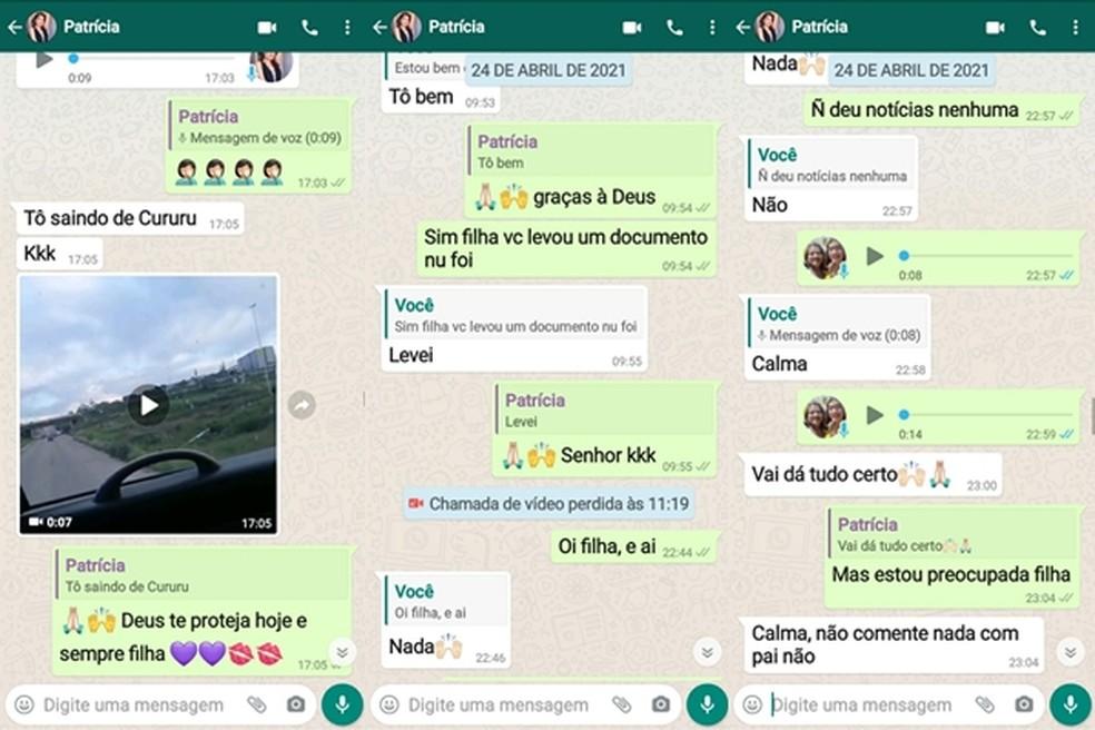 Conversa entre Patrícia e a mãe marca a saída da jovem para João Pessoa — Foto: Reprodução/WhatsApp