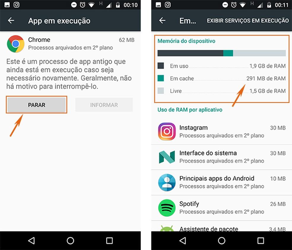 Pare o uso de memória RAM em cache o observe os resultados no celular Android (Foto: Reprodução/Barbara Mannara)