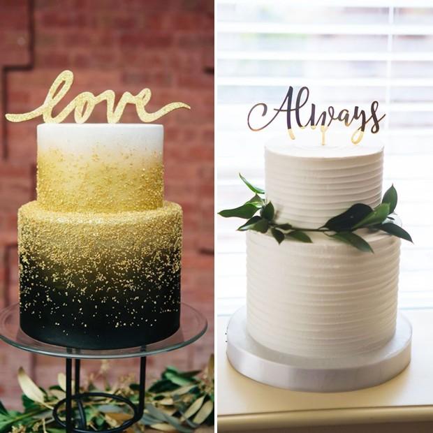 Topo de bolo de casamento: Letras personalizadas (Foto: Pinterest/Reprodução)