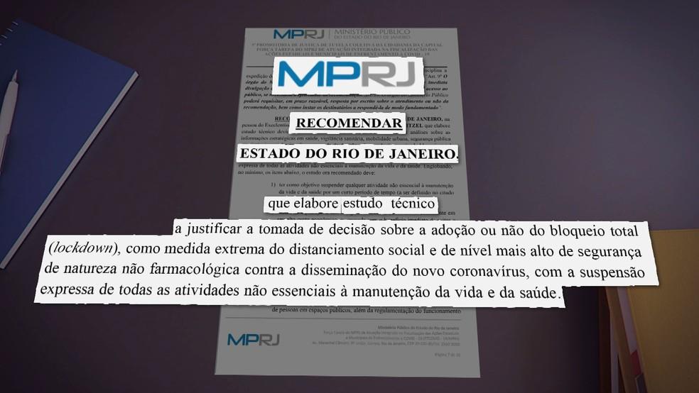 MP dá prazo até quinta-feira para Witzel apresentar estudo técnico que justifique lockdown no RJ — Foto: Reprodução/TV Globo