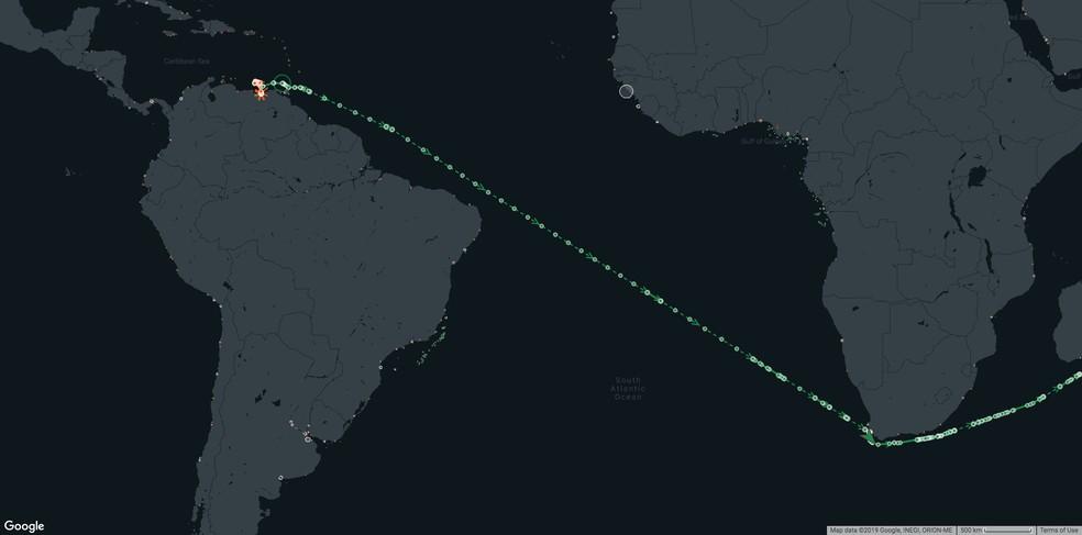 Bouboulina passou pela costa do Brasil em 28 de julho, segundo um porta-voz da Kpler, empresa de análise de dados especializada no mercado de commodities. — Foto: Divulgação/Kpler