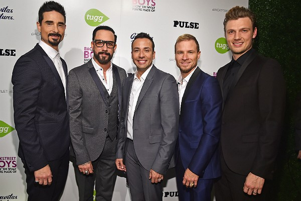 Os Backstreet Boys, da esquerda para a direita: Kevin Richardson, A.J. McLean, Howie Dorough, Brian Littrell e Nick Carter. (Foto: Getty Images)