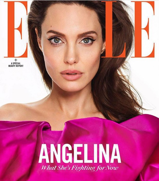 """Angelina Jolie na capa da revista norte-americana """"Elle"""" (Foto: reprodução / Elle Magazine)"""