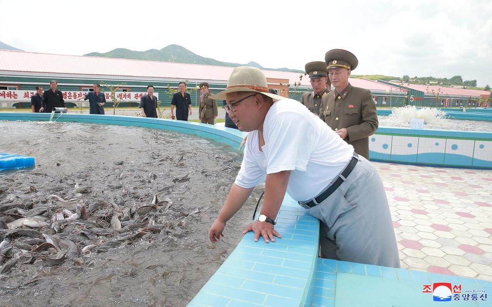 O líder norte-coreano Kim Jong-Un visita um criadouro de peixes, acompanhado por militares, em foto não datada divulgada pela agência estatal KCNA (Foto: KCNA via Reuters)