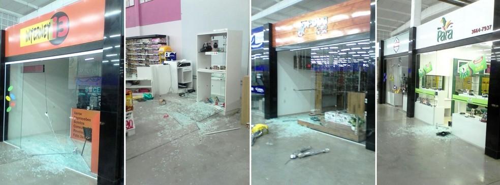 Lojas que ficam dentro do supermercado também foram saqueadas pelos criminosos  (Foto: PM/Divulgação)