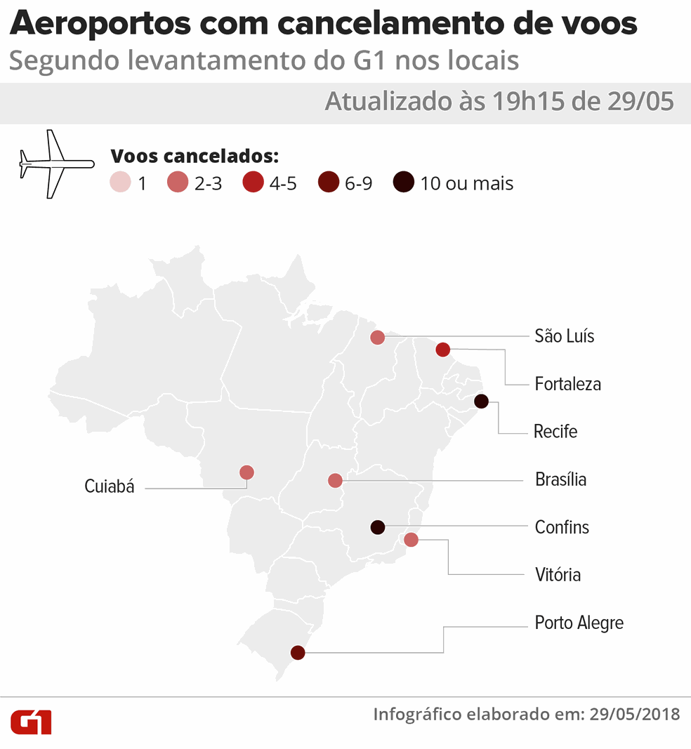19h15: Mapa de voos cancelados em aeroportos do país nesta terça-feira (29 (Foto: Igor Estrella/G1)