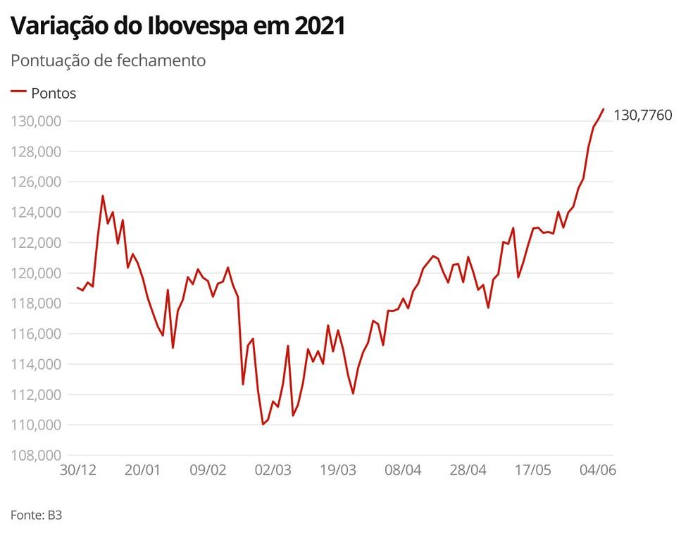 Variação do Ibovespa em 2021 — Foto: G1