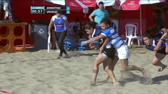 Melhores momentos: Argentina 7 x 5 Uruguai em desafio de rúgbi de praia feminino