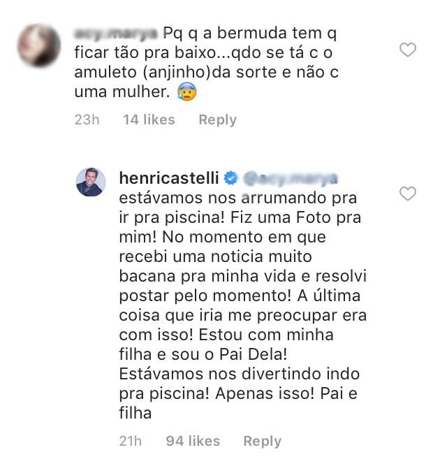 Henri Castelli responde críticas de internautas (Foto: Reprodução / Instagram)